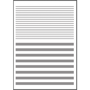 Cuaderno música mitad pauta y mitad linea